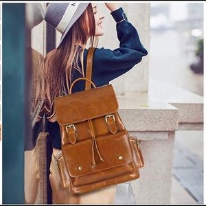 S-ZONE Women's Genuine Leather Casual Backpack